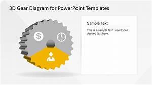 3 Steps 3d Powerpoint Gear Diagram