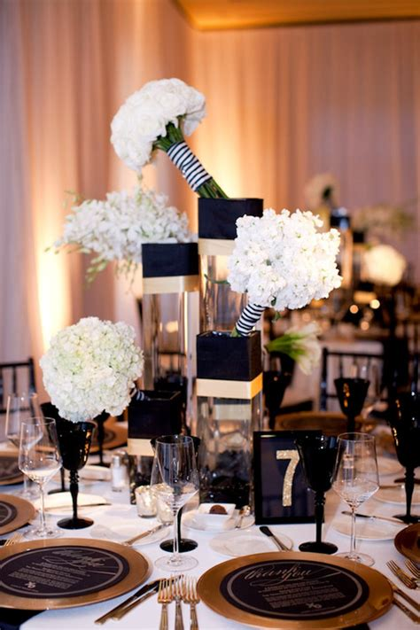 black white and gold centerpieces for wedding glamorous black white and gold wedding with sequin bridesmaid dresses