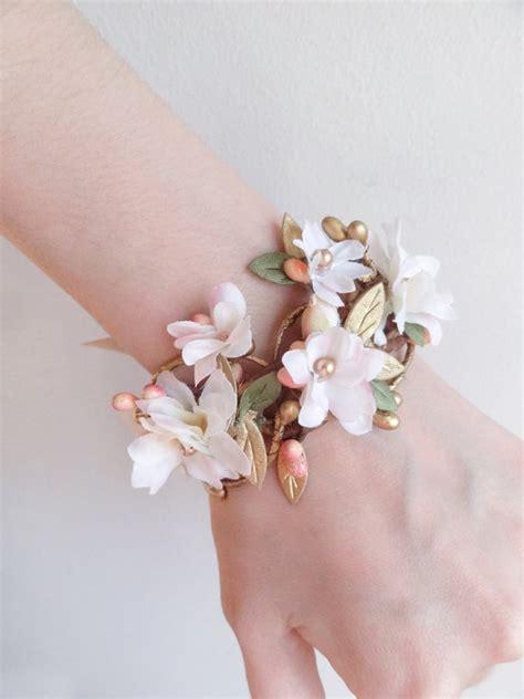 floral bracelet pink  cream bridal cuff bridal