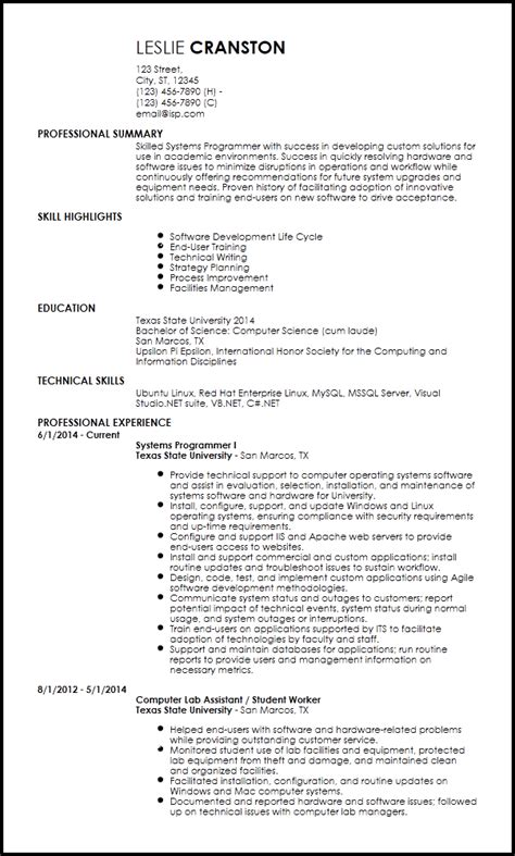 Programmer Resume by Free Entry Level Programmer Resume Templates Resume Now
