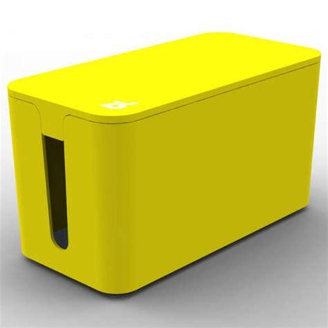 cache cable pour bureau bluelounge cablebox mini jaune boite rangement ca achat