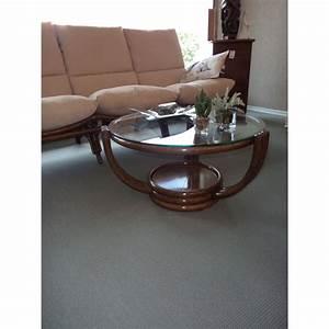 Table Basse Rotin : table basse en rotin ronde pivotante coloris chocolat ~ Teatrodelosmanantiales.com Idées de Décoration