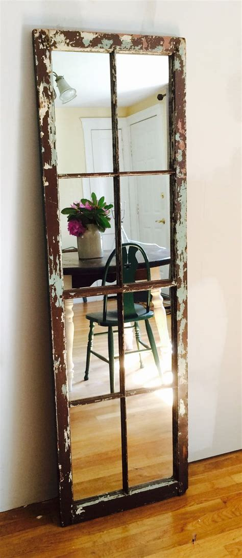 Reclaimed Large Antique Wood Window Standing Floor Full