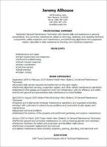 maintenance mechanic resume template industrial maintenance mechanic resume exles bestsellerbookdb