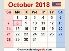 October 2018 Calendar Word printable calendar monthly