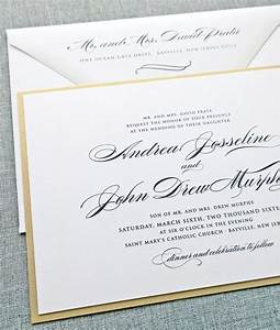 andrea script metallic gold layered wedding invitation With examples of formal wedding invitations