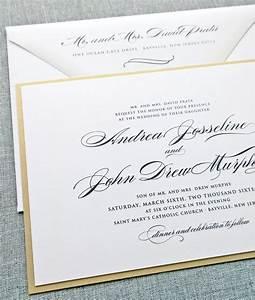 andrea script metallic gold layered wedding invitation With classy formal wedding invitations