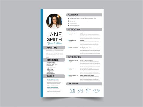 Modern Cv Format by Free Modern Resume Cv Template With Flat Style Design In