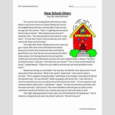 New School Jitters  Reading Comprehension Worksheet