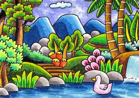 gambar contoh hasil mewarnai pemandangan kolam dan itik