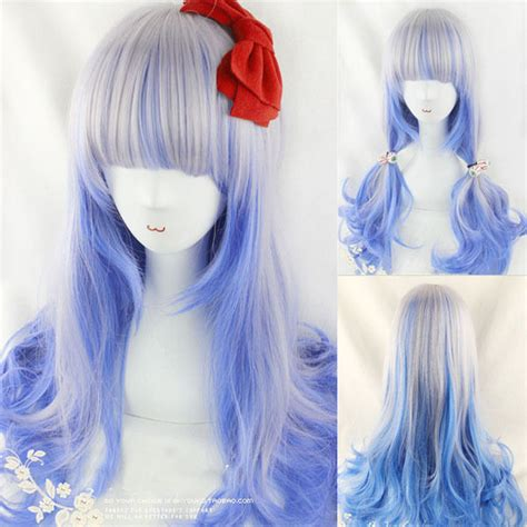 anime highlight mixed color wavy hair girl lolita cosplay