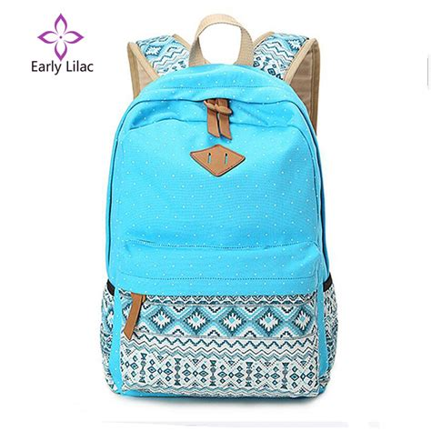 early lilac school bags for teenagers dot printing canvas backpack mochila