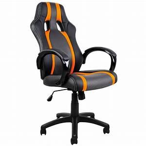 Chaise Bureau Sport Fauteuil Noir Gris Orange Achat