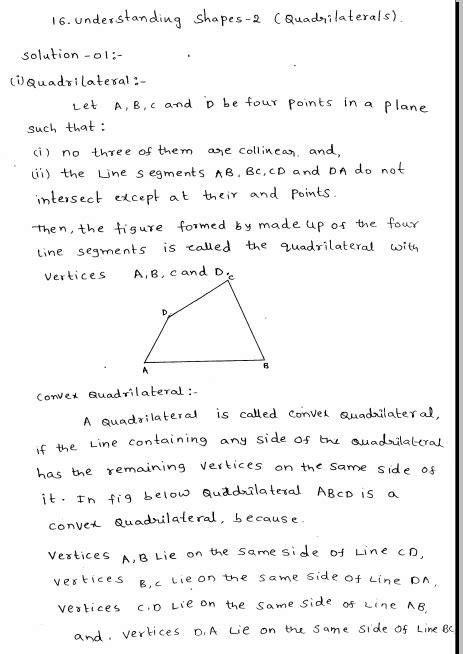 understanding shapes-II Quadrilaterals RD Sharma Class 8