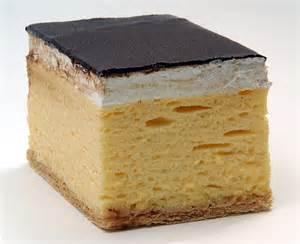 zagrebačka kremšnita a vanilla and custard cake dessert has a characteristic chocolate