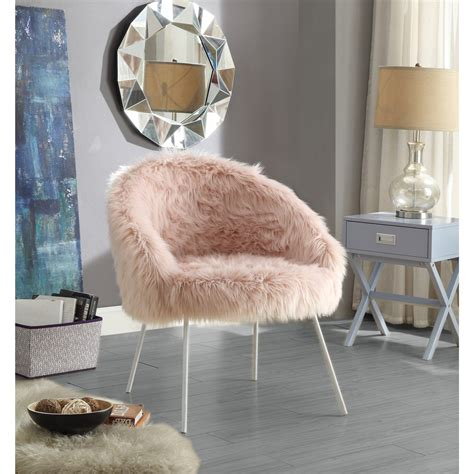 inspired home norah faux fur accent chair walmartcom