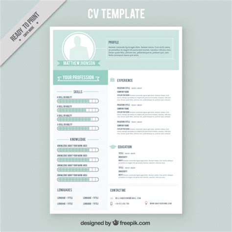 direct download cv templates psd cv template with green details vector free download
