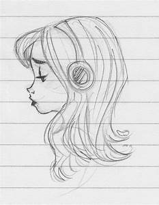 Sad girl listening to music - sketch by Aemyle on DeviantArt