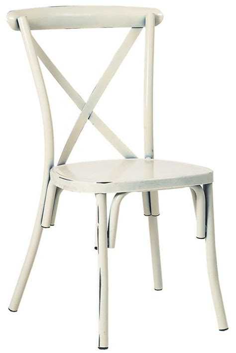 stackable metal x back chair in white finish
