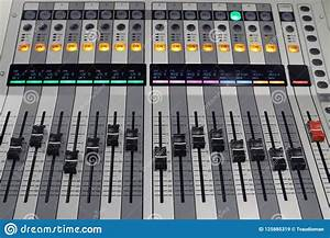Digital Sound Board Used To Mix Audio Stock Image