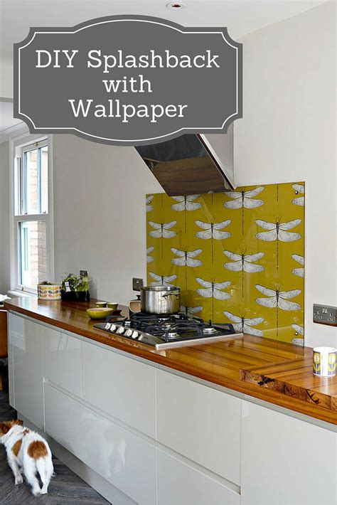kitchen tiles ideas for splashbacks diy splashback using wallpaper pillar box blue 8665