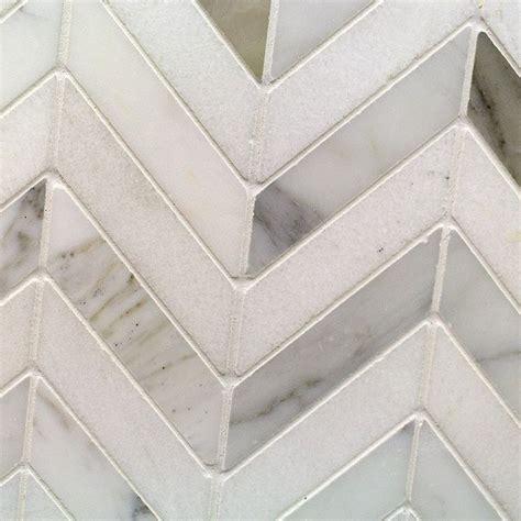 talon calacatta and thassos marble tile chevron pattern