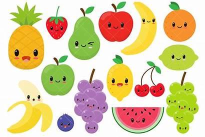 Fruit Clip Clipart Kawaii Happy Fruits Graphics