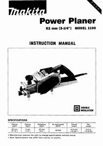 Makita Planer 1100 User Guide