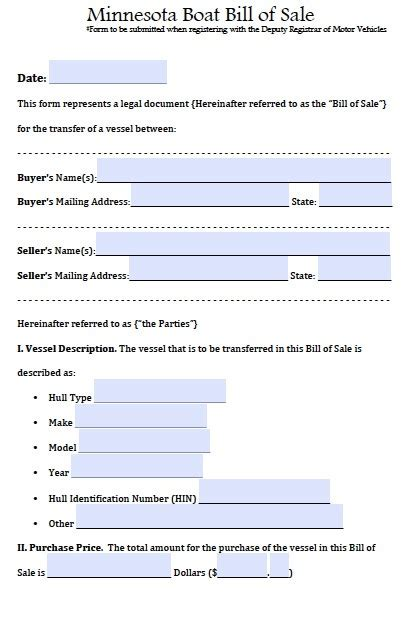 Boat Loans In Minnesota by Free Printable Boat Bill Of Sale Form Generic