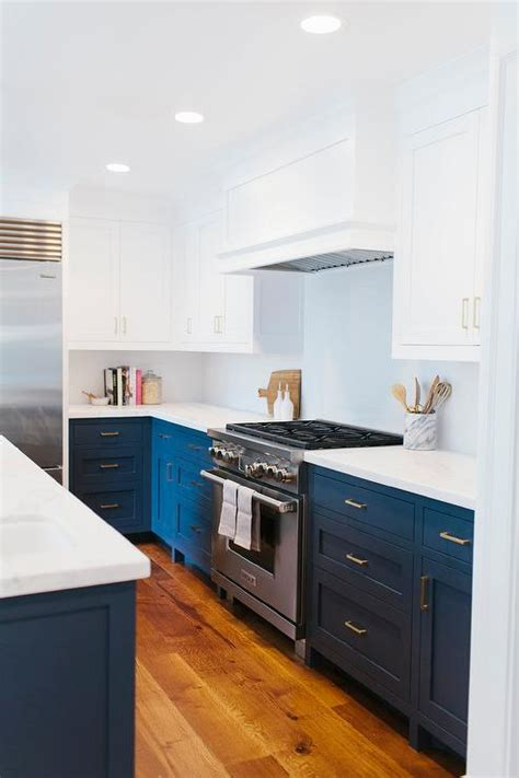 white and navy kitchen cabinets navy blue kitchen cabinets design ideas