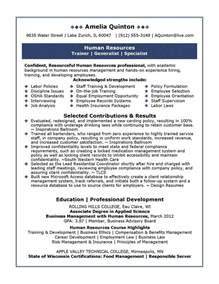 human resource resume sles professional resume sles by julie walraven cmrw