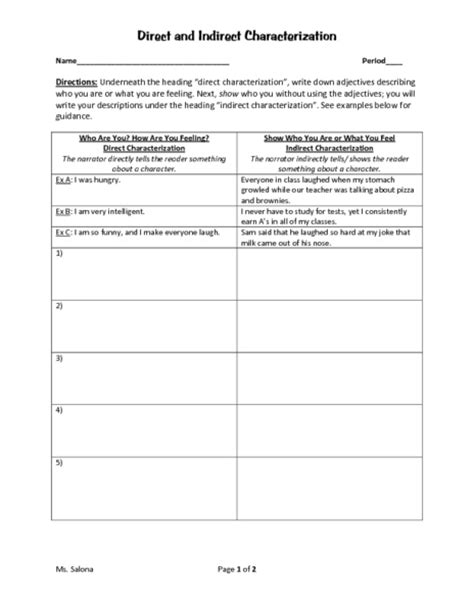 Direct Vs Indirect Characterization Worksheet Free Worksheets Library  Download And Print