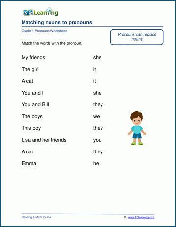 grade 1 pronouns worksheets k5 learning