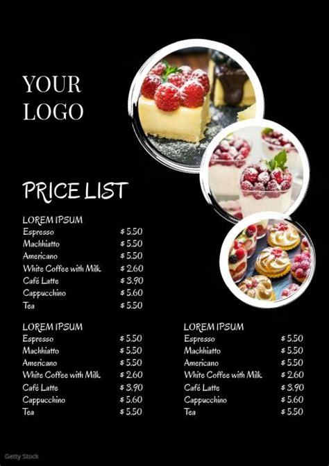 price liste menu card offers business flyer food menu