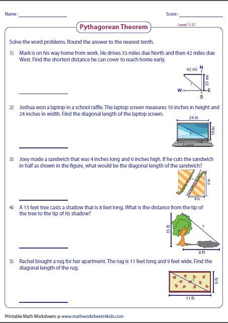 word problems involving pythagorean theorem geometry