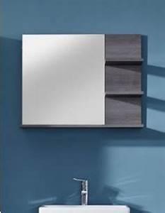 miroir avec tablettes gris pour salle de bain moderne banita With glace sdb