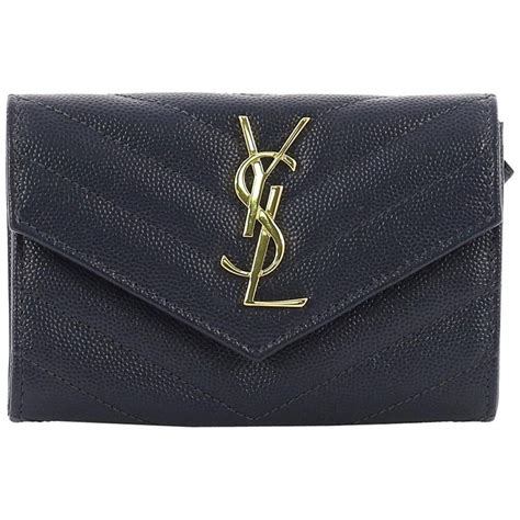 saint laurent classic monogram flap wallet matelasse chevron leather small  stdibs