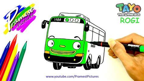 rogi menggambar dan mewarnai gambar mobil tayo the