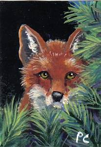 "Daily Painters of Oklahoma: Aceo Acrylic painting ""Red Fox"""