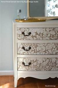 diy tutorial paint and stencil a pretty dresser is 10 With best brand of paint for kitchen cabinets with damask candle holder