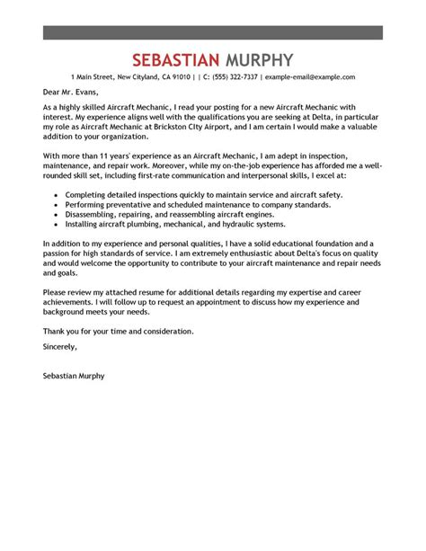 Ame Resume Cover Letter by Aircraft Mechanic Cover Letter Exles Installation