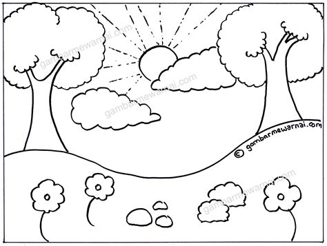 gambar mewarnai pemandangan lembah dan pohon buku