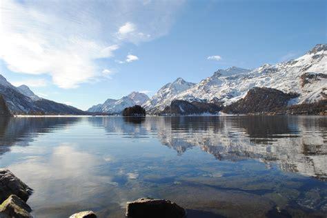 Lake Engadin Valley Landscape Mountains Switzerland