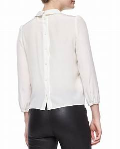 M missoni Bracelet-sleeve Silk Button-back Blouse in White ...