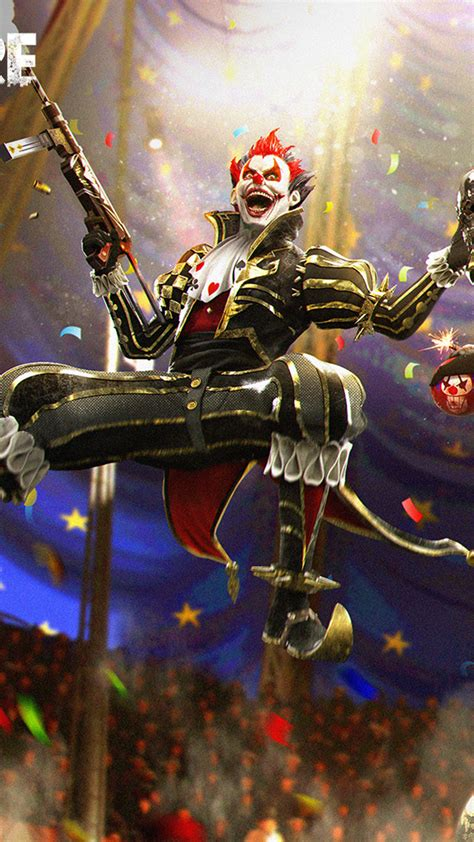 night clown garena  fire  ultra hd mobile wallpaper