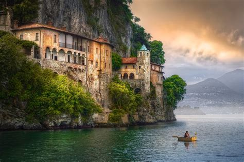Italy, Hermitage, Cliff, Clouds, Mountain, Boat, Trees ...