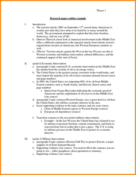 Exle Of Resume Paper by 6 Article Outline Exle Plan Template