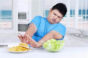 Overweight Person Avoid Fast Food At Home Stock Image ...