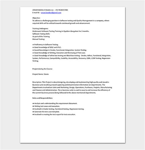 Manual Testing Resume by Fresher Resume Template 10 Sles Exles Formats