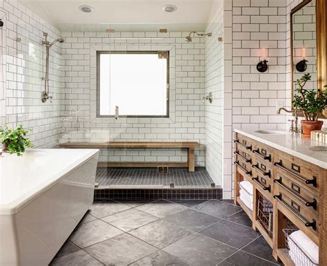 subway tile shower bench 21 gorgeous farmhouse style bathrooms you will